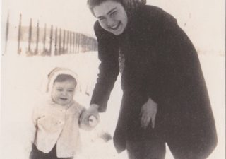 Eva Umlauf with Mother Agnes Hecht Working Camp Novaky Slovakia Winter 1943